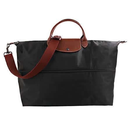 LONGCHAMP- 經典尼龍手提斜背可加大款二用旅行袋(黑)