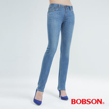 BOBSON 伸縮小直筒褲   (水藍8056-58)