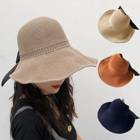 【幸福揚邑】蝴蝶結空頂可捲收防曬抗UV大帽檐遮陽帽(卡其、米、焦糖、藍)