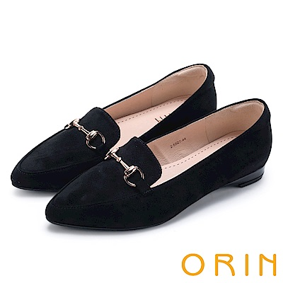 ORIN 經典復古 氣質馬蹄扣百搭樂福平底鞋-黑色