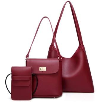 HAOSQ 義母のパッケージスリーピースのファッションシンプルなヨーロッパとアメリカのシンプルなショルダーポータブルビッグバッグメッセンジャーバッグ-赤