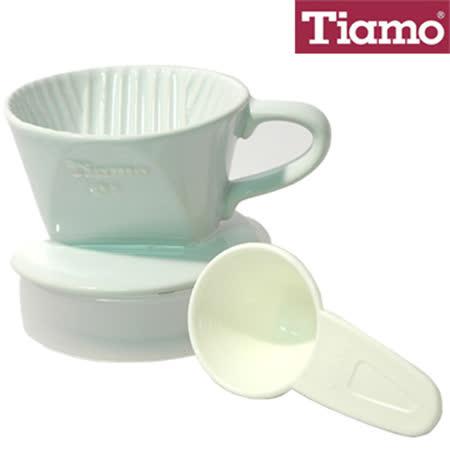 Tiamo 101 陶瓷 咖啡濾器超值組合(內含濾杯、滴水盤、咖啡粉匙) 白色 HG5046