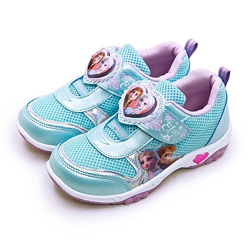 LIKA夢 Disney 迪士尼 17cm-21cm 冰雪奇緣 FROZEN 兒童電燈慢跑鞋 粉藍 94906 中童