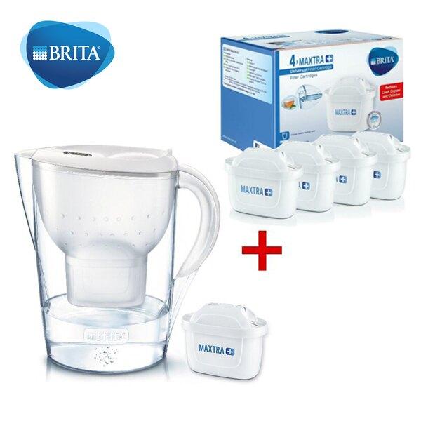德國Brita Marella XL濾水壺3.5L(內含濾芯1入)+濾芯4入 MAXTRA濾芯(共5入)馬利拉 白色/藍色 德國製造