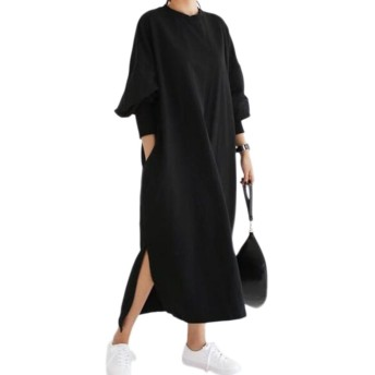 [ユーミート] ロング Tシャツ ワンピース 薄手 マキシ丈 プルオーバー 長袖 ゆったり マタニティ レディース 無地 黒 XL くろ Tシャツワンピ マタニティウェア 長袖マタニティ しましま シンプル 黒 XL