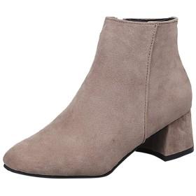 [DUOdYU] スクエアヘッド ブーティー 側ジッパーブーツスクエアヒールヴィンテージの女性のブーツ 通学 通勤用 冬 防寒 靴 黒 (40, ベージュ)