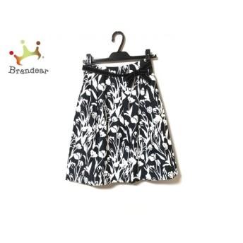 エムズグレイシー スカート サイズ36 S レディース 美品 ダークグレー×白 リボン付き/花柄   スペシャル特価 20200214