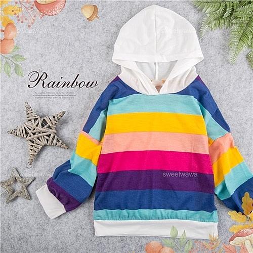 中性款~彩虹色寬條連帽薄長袖上衣(280217)★水娃娃時尚童裝★