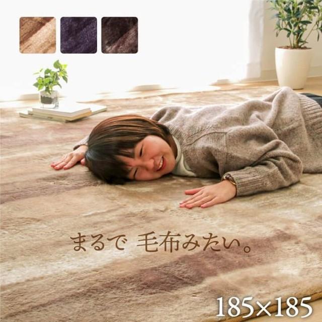 ラグ カーペット ホットカーペットカバー シェード 約185×185cm 木目調 2畳 おしゃれ 洗える 床暖房対応 こたつ敷布団