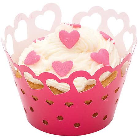 《Sweetly》杯子蛋糕圍邊紙12入(紅心)