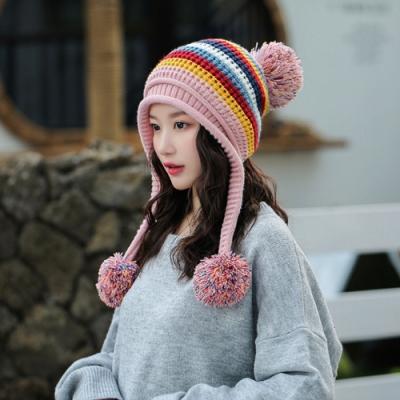 【89 zone】法式時尚拼色三毛球保暖毛線/針織帽(黑)