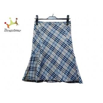 バーバリーブルーレーベル スカート サイズ38 M レディース 美品 アイボリー×ネイビー×マルチ 新着 20191126