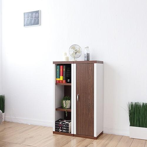 一加一組合《Accessco》日系雙色六格附門厚板收納書櫃﹝胡桃白﹞