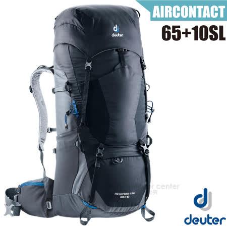 【德國 Deuter】Aircontact Lite 65+10L 專業輕量拔熱透氣背包(大容量設計+Vari Quick速調肩帶系統).適健行登山_4340318 黑