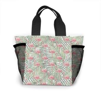 フラミンゴと葉 トートバッグ おしゃれ レディース バッグ 買い物バッグ ランチバッグ エコバッグ ハンドバッグ