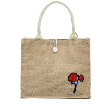 Wiixiong 花の装飾の肩のハンドバッグの女性の大きい上のハンドルはリネントートバッグを袋に入れます