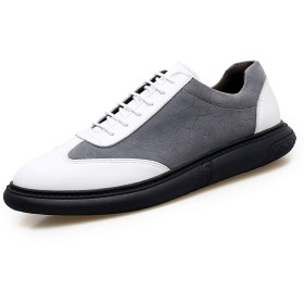 [Z-JIN] ランニングシューズ メンズ スニーカー スポーツシューズ 男性のための運動靴ファッションスポーツシューズ通気性スタイルスプライシングOXレザー 滑り止め 通気性 通学 通勤 (Color : 白, サイズ : 24.5 CM)
