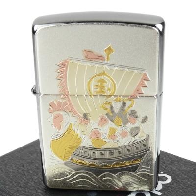 ZIPPO 日系~傳統藝術-寶船七福神圖案電鑄板貼片加工打火機