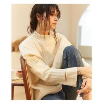 ニット ミックス Knit Mix 【Knit Mix】2019秋冬 スリーブカット リブニット (アイボリー)