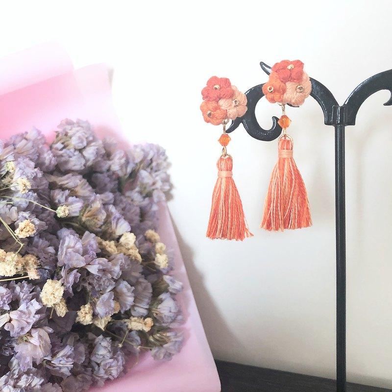 【訂製】花花流蘇耳環 秋楓 Crochet Flower Tassel Earrings