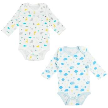 新生児 長袖ロンパース 2枚組 ブルー インナー・パジャマ 新生児・乳児(50~80cm) インナーロンパース (100)