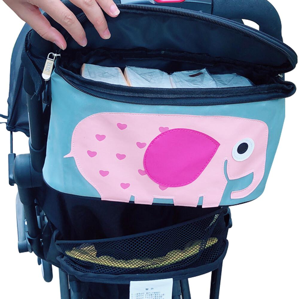 嬰兒推車奶瓶濕紙巾收納袋加蓋置物分格掛袋-rb1022a