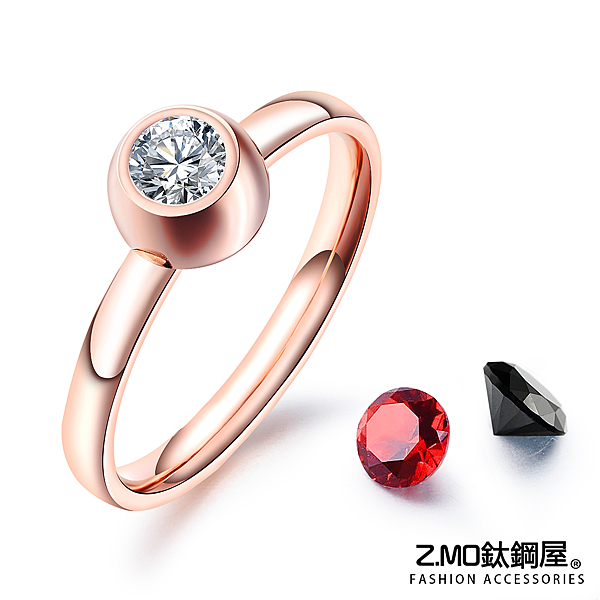 Z.MO鈦鋼屋 白鋼戒指 單鑽戒指 女生戒指 生日禮物 情人禮物 換鑽戒指 單只價【BKS650】