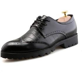 LULIJP ソフトレザー厚底ブローグシューズとメンズビジネスオックスフォードカジュアルニューラインドレスシューズ 革靴 (Color : ブラック, サイズ : 24 CM)
