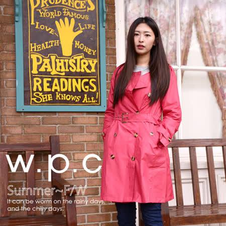 【w.p.c.】雙排釦圓領款。時尚雨衣/風衣(R1019)_桃紅