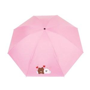 【LINE FRIENDS】授權黑膠自動開收傘-情人款(5款任選)A黃色熊大