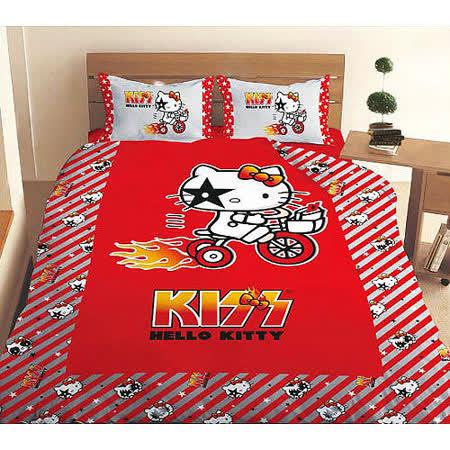 【HELLO KITTY】凱蒂貓KISS熱火-奔馳腳踏車篇單人涼被(4*5尺)