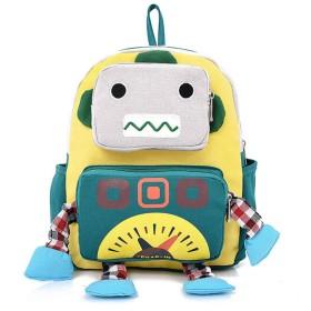 漫画のロボット調節可能なショルダーバッグリュックサック、学校のマルチユースアウトドアリュック黄色ロボット