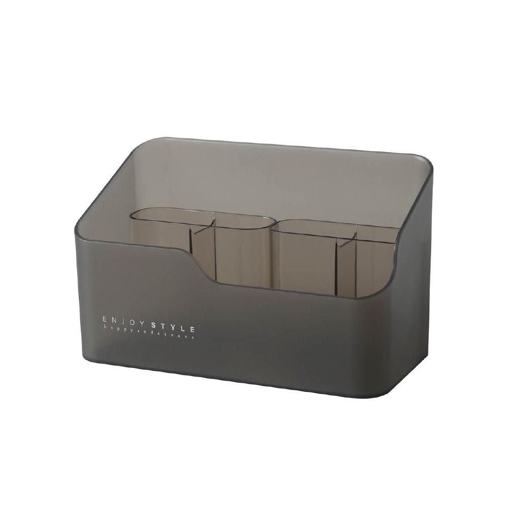 【買十送一】居家家 鏡櫃收納盒桌面化妝品整理盒 梳妝台分格護膚品口紅置物架化妝品收納盒 透明 壓克力口紅架 收納架
