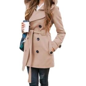 gawaga フード付きベルトダブルブレスト長袖ソリッドカラーポケットトレンチコートアウトウェアオーバーコートを持つ女性 Khaki M