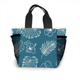 ヤシの葉と花のスケッチ トートバッグ おしゃれ レディース バッグ 買い物バッグ ランチバッグ エコバッグ ハンドバッグ