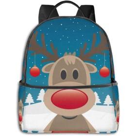 トナカイの赤い鼻とクリスマスボール リュックバック リュックナップザック バッグ ノートパソコン用のバッグ 大容量 バックパックチ キャンパス バックパック 大人のバックパック 旅行 ハイキングナップザック