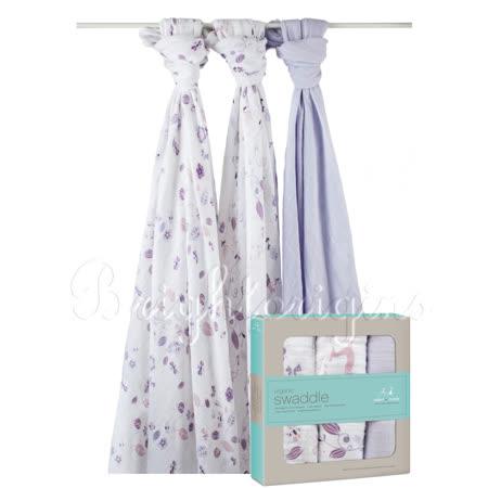 美國Aden+Anais 有機棉包巾(三入裝)粉紫童話款9120