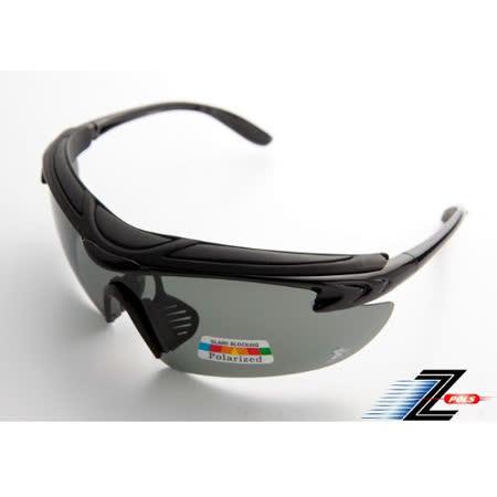 【Z-POLS】舒適頭墊搭配寶麗來偏光鏡片 強抗UV 悍將帥氣功能款 運動眼鏡 烤漆質感黑