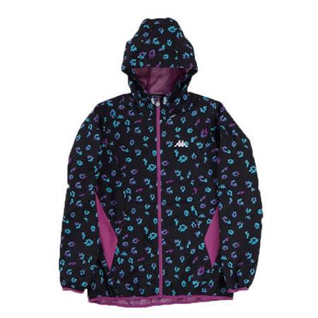 KAPPA義大利女UV-CUT單層風衣外套~黑/牡丹紫