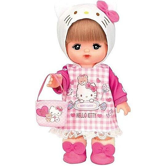 〔小禮堂〕LICCA 莉卡娃娃 x Helllo Kitty 換裝衣服道具組《粉白.格紋洋裝》洋娃娃配件 4977554-51492