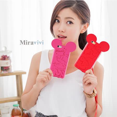 【Disney 】iPhone 6/6s 皮革壓紋耳朵造型保護套(附吊繩)