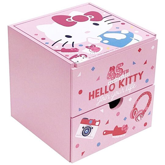 小禮堂 Hello Kitty 桌上型木製單抽掀蓋收納盒《粉.45週年》抽屜盒.木製櫃.置物盒