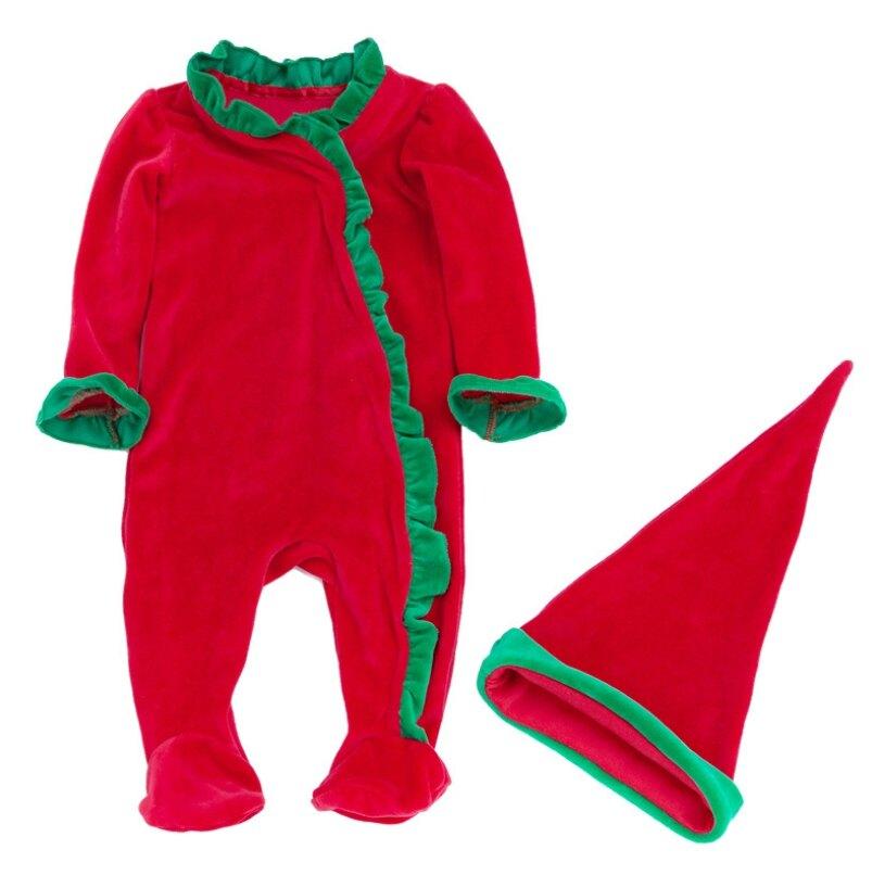 聖誕節配色荷葉滾邊包腳連身衣+聖誕帽 新生兒 連身衣 聖誕節 角色扮演 橘魔法 現貨 嬰兒【p0061199406353】