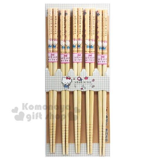 小禮堂 Hello Kitty 天然木筷子組《5入.米黃.閉眼》22.5cm.竹筷.環保筷
