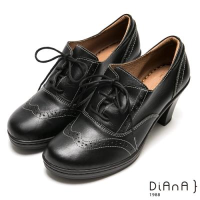 DIANA 跳色車線沖孔綁帶牛津跟鞋-英倫風情-黑