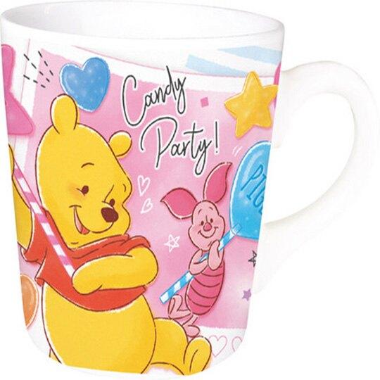 小禮堂 迪士尼 小熊維尼 陶瓷馬克杯方巾組《粉黃.棒棒糖》手帕.咖啡杯.茶杯