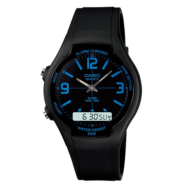 CASIO 卡西歐  酷炫經典指針雙顯錶 AW-90H-2B