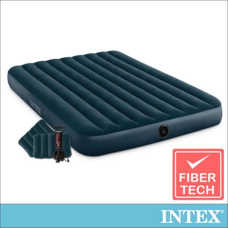 【INTEX】經典雙人加大(fiber-tech)充氣床墊(綠絨)-寬152cm-特惠組合(附手壓幫浦+枕頭*2)(64736)