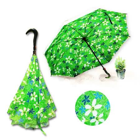 好雅也欣-雙層傘布散熱專利反向傘-浪漫台三線-客家桐花系列(綠花)