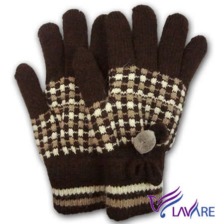 Lavender-保暖雙層手套-絨毛球-咖啡色